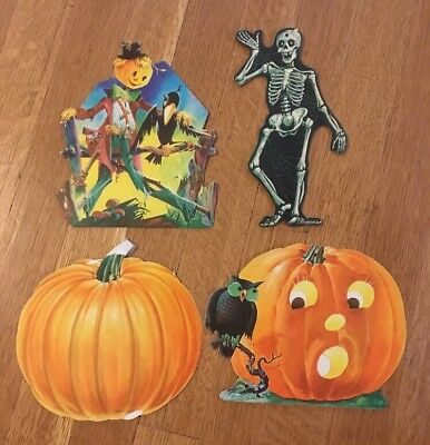 $ CDN95.38 • Buy Vintage Dennison Die-Cut Paper Halloween Decorations Scarecrow Skeleton Pumpkin
