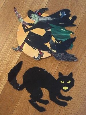 $ CDN99.11 • Buy Vintage Die-Cut Paper Halloween Decorations Scary Cat Witch With Owl