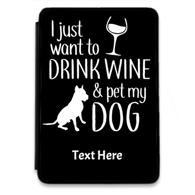 Dogs Wine For IPad-Mini-4-PU-Leather Flip Case Cover Personalise Colours Novelty • 23.99£