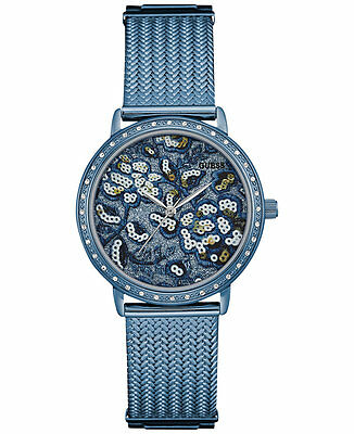 $ CDN152.23 • Buy NWT GUESS Women's Willow Sky Blue Floral Mesh Bracelet Watch 35mm U0822L3
