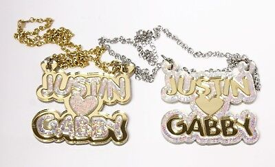 £21.95 • Buy Diamond Sparkle Couples Necklace - Personalized Name Necklace - Buy 1 Get 1 FREE