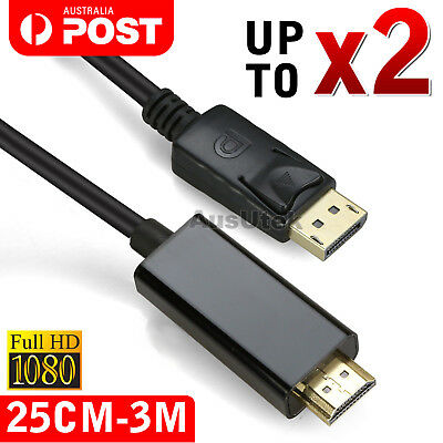 AU8.45 • Buy Displayport Display Port DP To HDMI Cable Male To Male Full HD High Speed 1080P