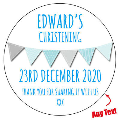 Personalised BANNER Christening Baptism Sweet Cone Gift Bag Stickers Label 605 • 2.29£