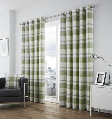 £26.99 • Buy Plaid Check Green Grey Cream Cotton Ring Top Curtains * 7 Sizes*