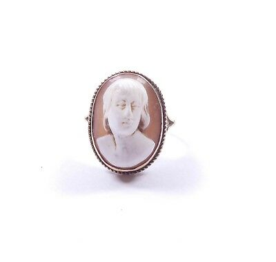 £132 • Buy Cameo Shell  Ring Vintage 9 Carat Gold Size M Vintage