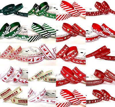 £1.30 • Buy Happy Merry Christmas Ribbons Snowflakes Ribbon Gift Wrapping  1 , 3 Or 5 Metres