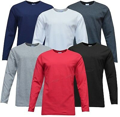 Mens Long Sleeve Plain T-shirt 100% Cotton Premium Casual Tee Small - XXL • 6.95£