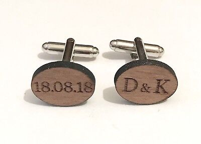 £3.35 • Buy Personalised Wedding Shirt Cufflinks In Wood Engraved With Two Initials And Date