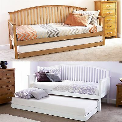 Madrid Wooden 3ft Single Day Bed Frame & Trundle Guest Bedstead Oak & White • 108.99£