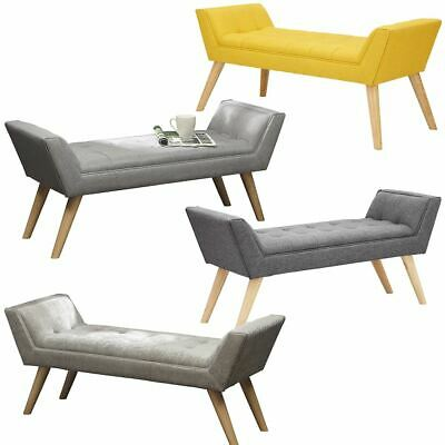 Milan Upholstered Bench Seat Footstool Faux Leather Hopsack Chenille Fabric • 98.99£