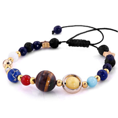 US! Eight Planets In The Solar System Bracelet Beads Jewelry Gift For HerCollect • 5.22$