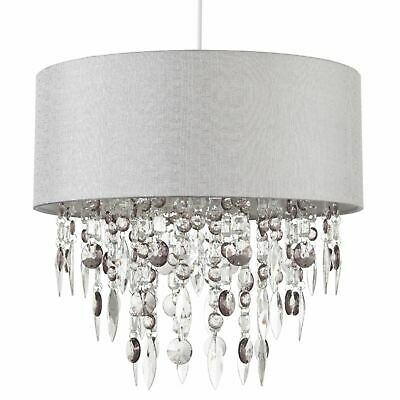 Modern Large 40cm Easy Fit Jewelled Grey Ceiling Light Chandelier Lamp Shade • 39.99£