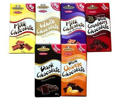 6x Simpkins Sugar Free Chocolate & No Added Sugar Bars Gluten Free Diabetics • 12.99£