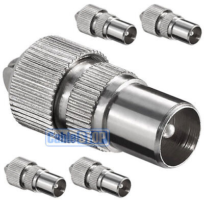 £2.35 • Buy 5 X MALE COAX PLUG TV AERIAL CONNECTOR COAXIAL ADAPTER