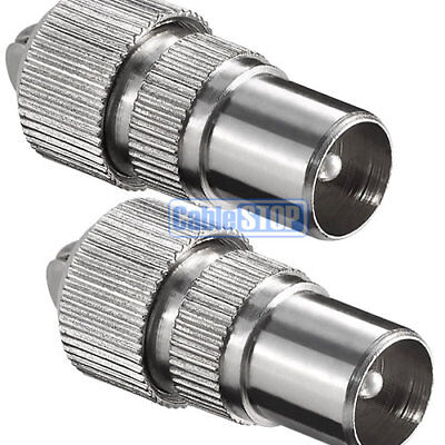 £1.95 • Buy 2 X MALE COAX PLUG TV AERIAL CONNECTOR COAXIAL ADAPTER