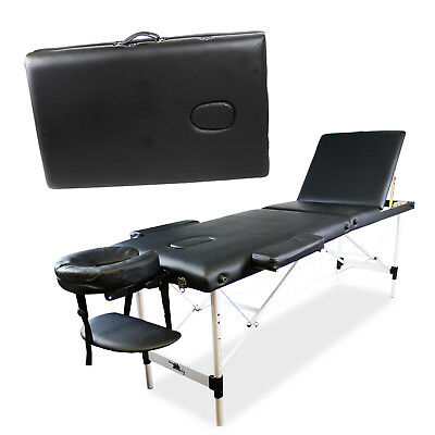 Beauty Bed Massage Table Portable Black Folding Therapy Couch Salon Adjustable • 74.99£