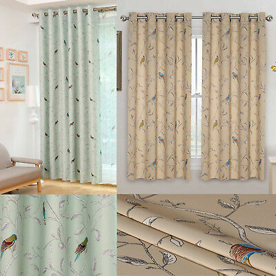 £19.99 • Buy Bird Thermal Blackout Ready Made Eyelet Curtains - Dimout Energy Saving