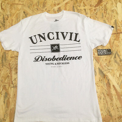 Young And Reckless White 'UNCIVIL Disobedience' T-Shirt **NEW**  • 5.59£