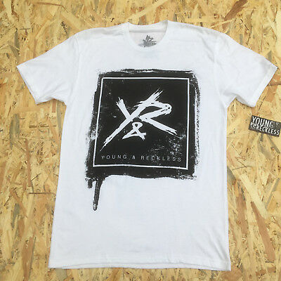 Young And Reckless White ' Y&R On Black Square' T-Shirt **NEW**  • 5.59£