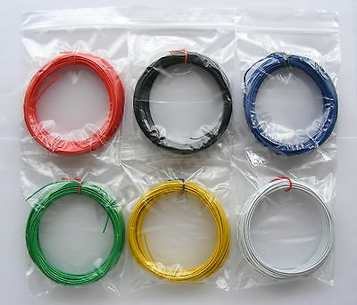 60m Equipment Wire Kit 1/0.6mm  22-23 AWG  6 Colours Single Solid Core WP-011717 • 8.46£