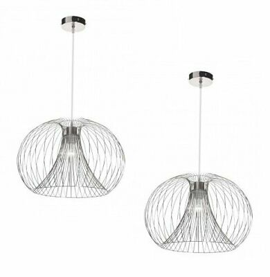 Pair Set Of 2 Modern Silver Chrome Metal Wire Ceiling Pendant Chandelier Lights • 39.99£