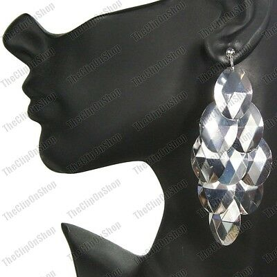 £2.88 • Buy CLIP ON 4 Long BIG CHANDELIER EARRINGS Silver Fashion FACETED DROPS Clips
