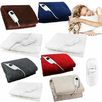 Electric Heated Throw Over Under Blanket Fleece Washable Polyester Warm Mattress • 15.99£
