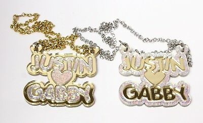£21.73 • Buy Personalized Couples Necklace - Diamond Acrylic Necklace - Acrylic Name Chains