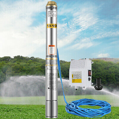 AU169.96 • Buy 1HP 4  Submersible Bore Water Pump Well Stainless Steel 6500L/h With 20M Cable