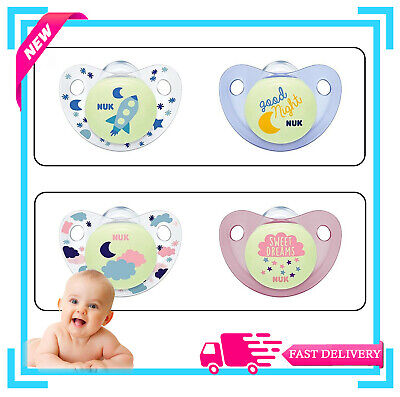 £6.99 • Buy NUK Night & Day Silicone Soothers Size1 And Size2 (Blue & Pink)