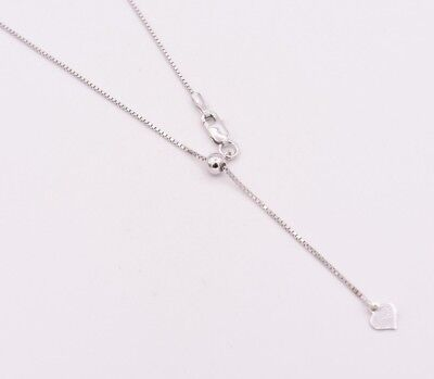 $20.92 • Buy 0.80mm Adjustable Box Chain Necklace 14K White Gold Clad Silver 925