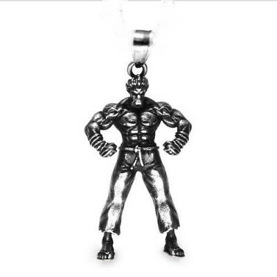 $12.97 • Buy FITNESS STEEL LARGE PENDANT GYM MEN SILVER 22  Necklace MUSCLE WORKOUT STRONG