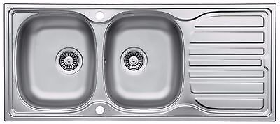LA014 Double Bowl Stainless Steel Inset Kitchen Sink With Drainer & Wastes • 109.98£