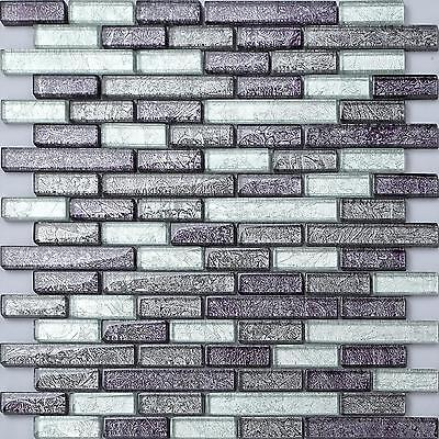 Glass Mosaic Wall Tiles Black & Silver Foil Pattern Bathroom Shower GTR10093 • 7.48£