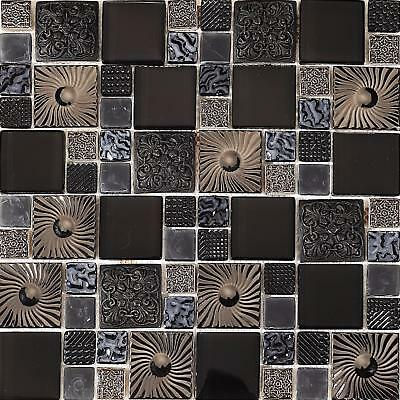 £10.29 • Buy Black And Silver Patterned Glass And Steel Mosaic Tile Sheet (GTR0149)