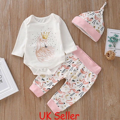 Newborn Baby Girl Clothes Long Sleeve Tops Romper Jumpsuit Long Pants Hat Outfit • 6.79£