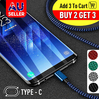 AU5.95 • Buy USB-C Braided Fast Charge Data Cable USB Type-C For Google HUAWEI OPPO ONEPLUS