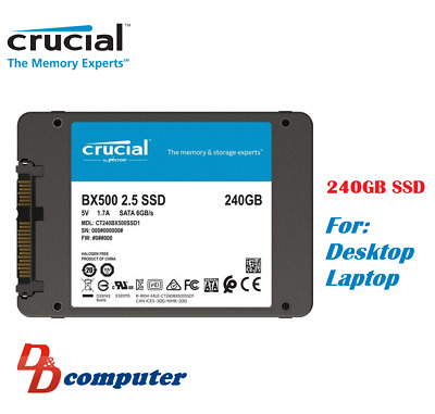 AU45 • Buy Crucial BX500 240GB 2.5  SATA SSD 3D NAND 540MB/s 7mm Internal Solid State Drive