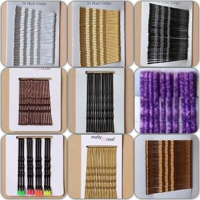 Hair Clips Bobby Pins Kirby Grips Glitter Styling Grip Silver Blonde Brown Black • 0.99£