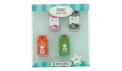 Novelty Erasers Juice Milk Scented Rubbers New Box Collectable School Kids Gift • 3.99£