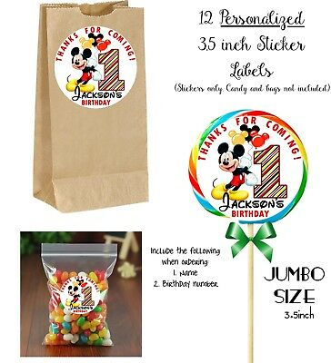 $8.99 • Buy 12 Mickey Mouse Number JUMBO STICKERS For Lollipops, Goody Bags, Birthday