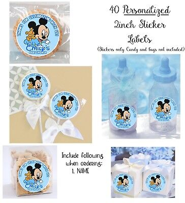 $9.99 • Buy 40 Baby Mickey Mouse Personalize STICKERS For Lollipops, Goody Bag, Shower Favor