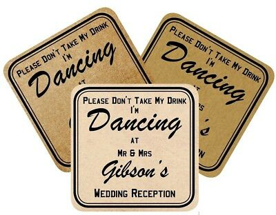 £12.50 • Buy Vintage Wedding Coasters Laminated  Don't Take My Drink I'm Dancing  3 Styles