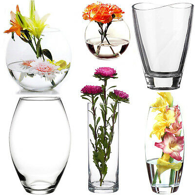 Clear Glass Flower Vase Home Wedding Modern Floral Display Table Centrepiece  • 7.99£