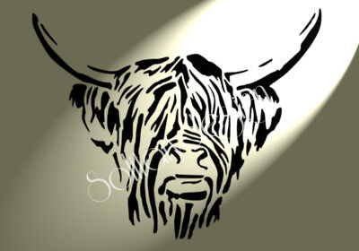£5.29 • Buy Shabby Chic A4 Vintage Highland Cow Head Plastic Crafts/furniture Stencil Sheet