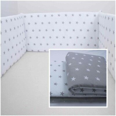 £11.99 • Buy  COT BUMPER Double-sided STRAIGHT FILLED PADDED FOR COT/COT BED GREY WHITE STARS