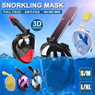 AU20.99 • Buy Full Face Diving Snorkel Mask Snorkeling Swimming Goggles GoPro AU Fast Shipping