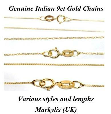 GENUINE 9ct GOLD FINE NECKLACE CHAIN - VARIOUS STYLES AND LENGTHS AVAILABLE • 58.29£