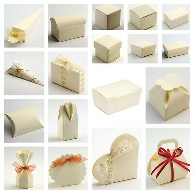 SILK IVORY CREAM Range - Luxury DIY Wedding Party Favour Gift Boxes - Box Only • 6.15£