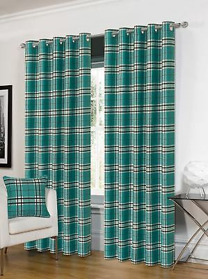 TARTAN TEAL BLACK CHECK PLAID WOVEN LINED RING TOP CURTAINS DRAPES *4 Sizes* • 58.99£